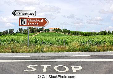 roadsigns, em, português, estrada