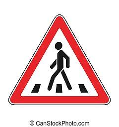 roadsigns on the white; crosswalk