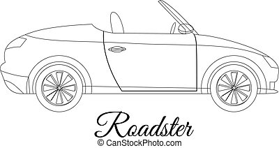 Roadster car body type outline vector illustration