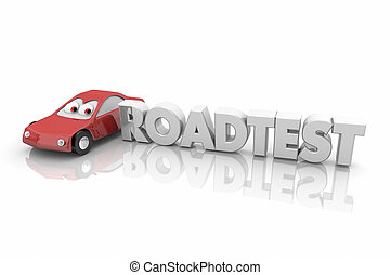Roadtest Car Vehicle Automobile Review Word 3d Illustration