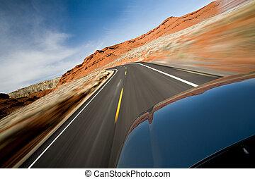 roadtrip through northern Wyoming, motion blur as shot
