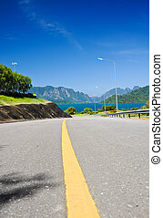 Roadway asphalt in Ratchaprapa Dam Suratthani Thailand
