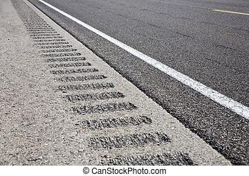 Roadway shoulder rumble strips, USA