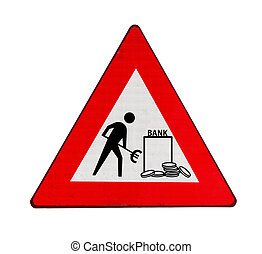 Roadworks at banks in the euro zone