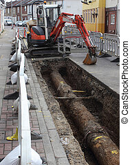 Roadworks for the replacement of new plastic gas pipes being...