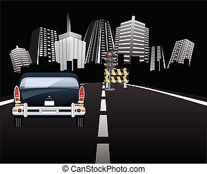 Roadworks on road into city