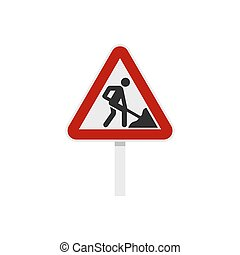 Roadworks sign icon, flat style