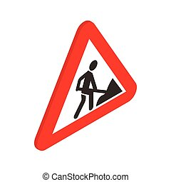 Roadworks sign icon, isometric 3d style