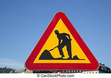 Roadworks Sign in Urban Setting