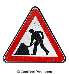 Roadworks sign - Road works sign for construction works in...