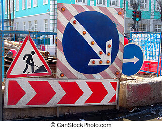 Roadworks - Signs of road works on a road