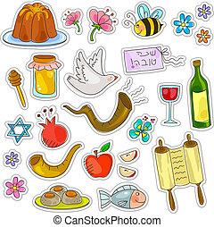 roah hashanah set - symbols of rosh hashanah (jewish new...