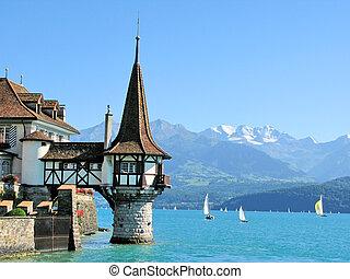 roaman, lago, famoso, oberfofen, thun, suiza, castillo,...