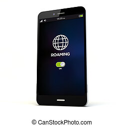 roaming phone - render of a phone with roaming on the screen...