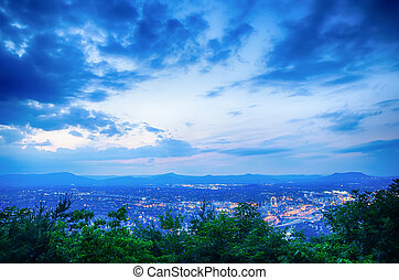 Roanoke City as seen from Mill Mountain Star at dusk in Virginia