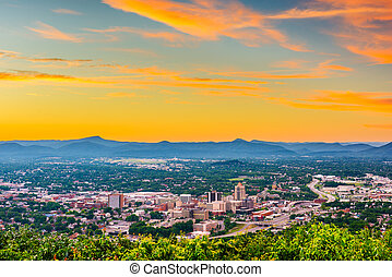 Roanoke, Virginia, USA downtown skyline at dusk