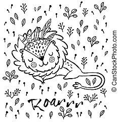 Roar. Cute sleeping lion vector illustration