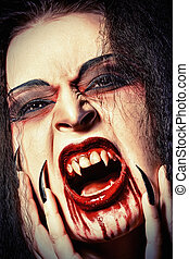 roar horror - Close-up portrait of a bloodthirsty female...