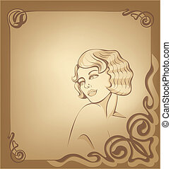 roaring 20-s art nouveau beackgroun - beauty blondie girl on...