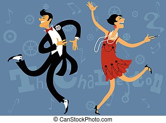 Roaring 20s - Cartoon couple dancing the Charleston, vector...