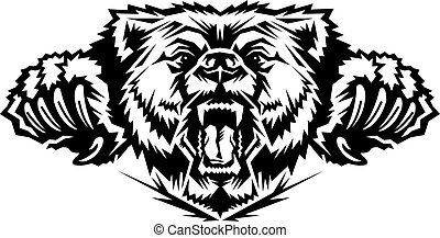 bear mascot head - roaring bear mascot head team design with...