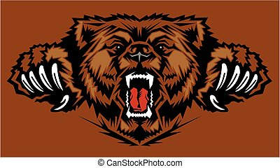 roaring bear mascot head with large claws for school, college or league