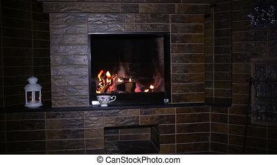Roaring flames in fireplace