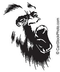 Roaring Gorilla - A vectorized roaring gorilla. Keep away!