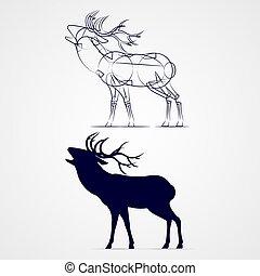 Deer Silhouette - Roaring Horned Deer Silhouette in a Time...