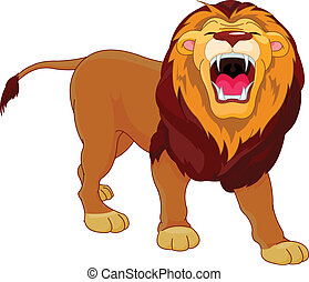Roaring lion - Fully editable illustration of a roaring...