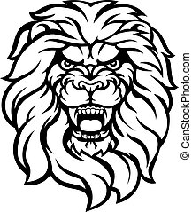 Roaring Lion Head Illustration - A mean looking lion face...