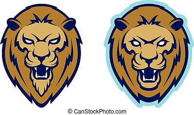 Roaring lion head mascot.