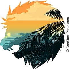 Roaring lion head silhouette illustration.