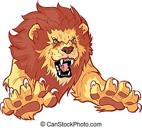 Vector cartoon clip art mascot illustration of a roaring lion leaping or jumping forward toward the viewer with its claws out.