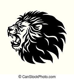 Roaring Lion Logo Mascot Vector Icon Design