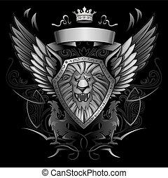 Roaring Lion Winged Shield Insignia