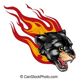 roaring mountain lion head with fire flames - attacking wild animal vector