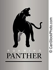 roaring panther full body vertical.