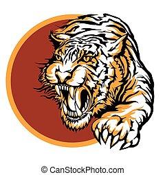 Roaring tiger logo design drawn in tattoo style
