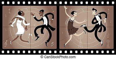 Roaring twenties cinema - Two couples dressed in 1920s style...