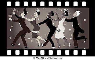 Roaring Twenties Party - Group of people dressed in 1920s...