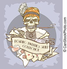 Roaring Twenties Skull label