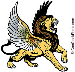 roaring winged lion - angry winged lion,mythological...