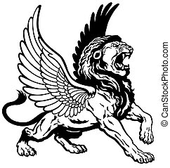 roaring winged lion, black and white tattoo image