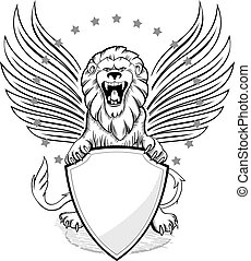 Roaring Winged Lion with Shield Ins