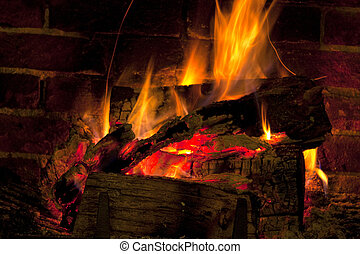 Roaring winter fire - Real roaring wood fire and open brick...