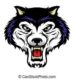 Roaring Wolf Head Mascot Illustration in Cartoon Style