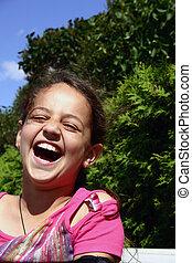 Roars of laughter. - Happy girl