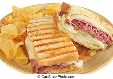Roast beef and cheese panini closeup - Close up photo of a...