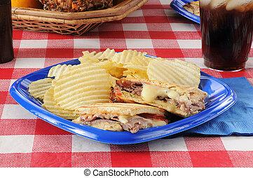 Roast beef and swiss cheese panini